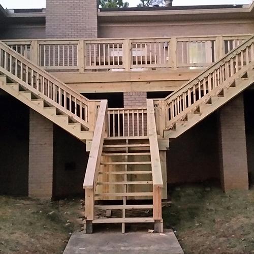 dual staircase deck
